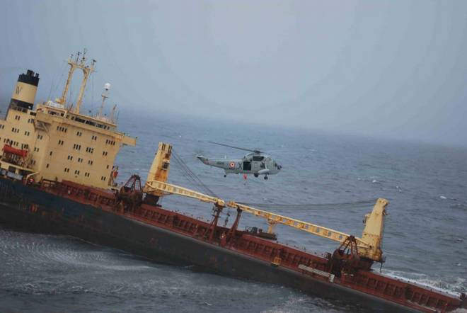 Coal ship chartered by Adani Enterprises Ltd sinking off Mumbai coast 2011_credit - The Hindu